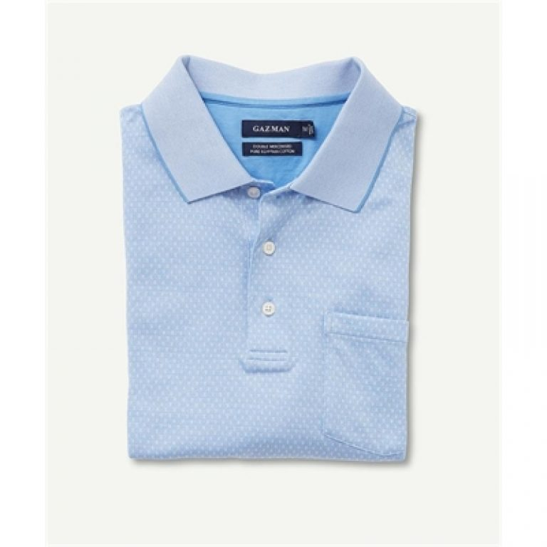 MERCERISED PATTERN POLO Blue S