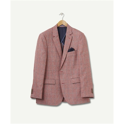 PURE LINEN DOBBY CHECK Coral Red 46