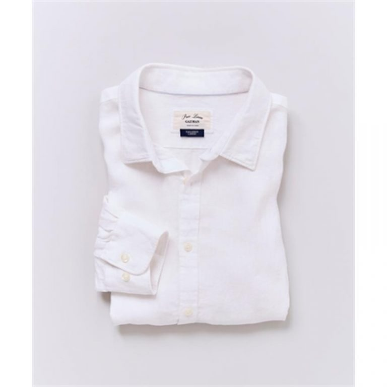 TAILORED PURE LINEN PLAIN White L