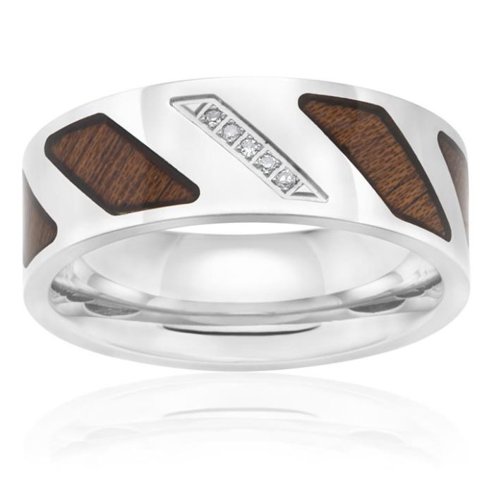 Diamond 0.05 Carats Woodgrain Stainless Steel Gents Ring No Re-size