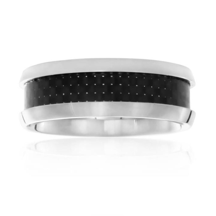 Forte Stainless Cnetre Stripe Steel Ring