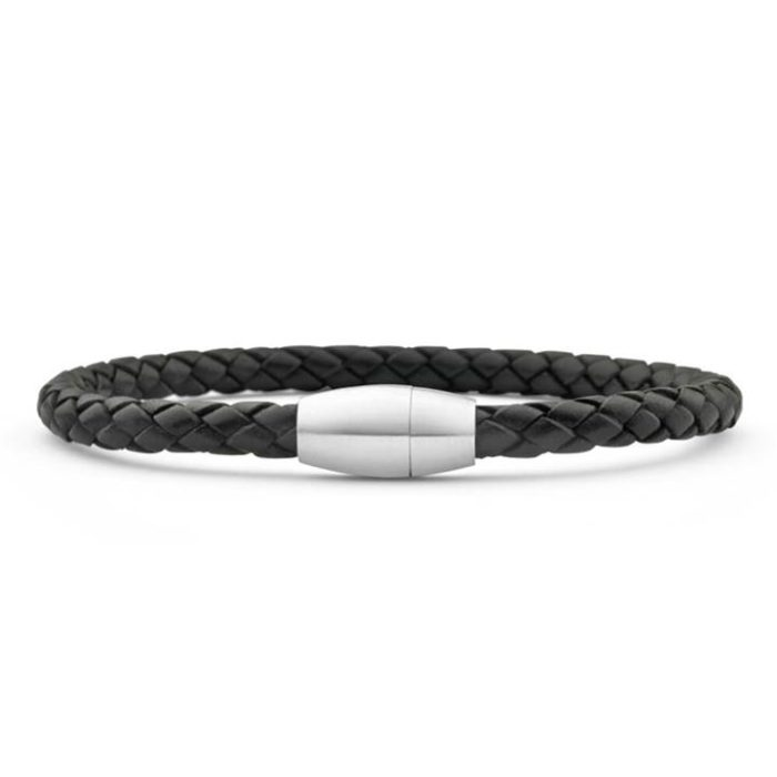 Forte Stainless Steel Black Leather 21cm Bracelet with Magnetic Clasp