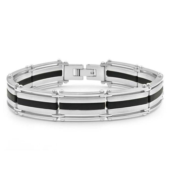 Forte Stainless Steel Forte Rubber Stripe 21cm Gents Bracelet