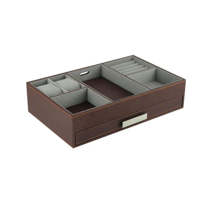 Men's Valet Tray accessory watch storage leather brown