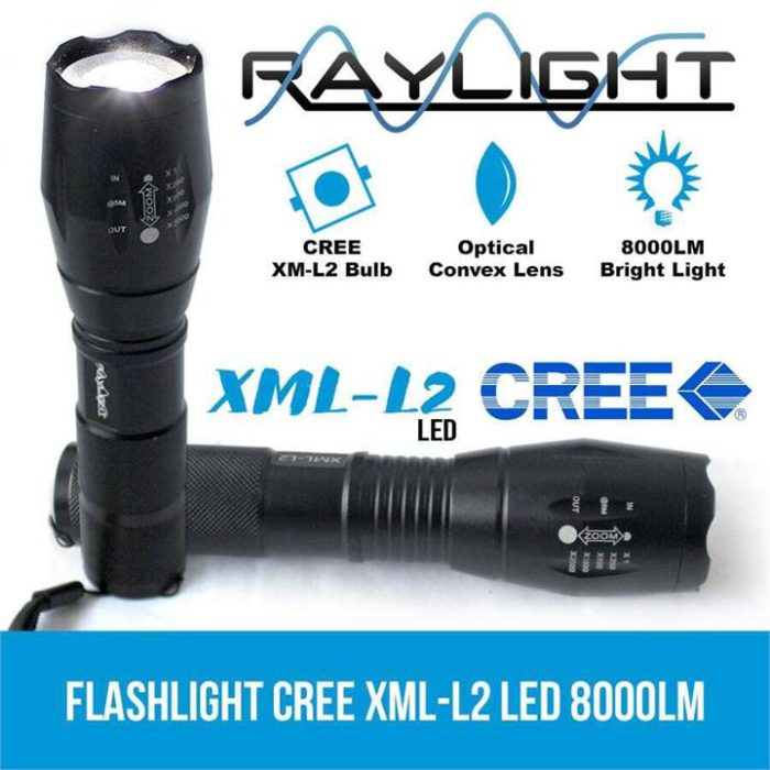 Raylight 2x Flashlight LED CREE XML-L2 8000LM Rechargeable 4x 18650 Battery Waterproof