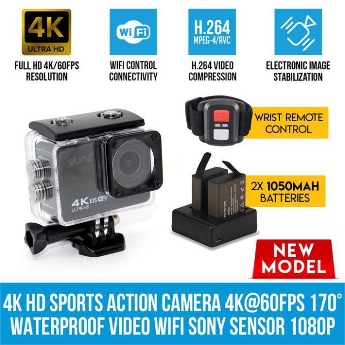 Elinz 4K HD Sports Action Camera 4K@60FPS 170 Waterproof Video WiFi Sony Sensor 1080P