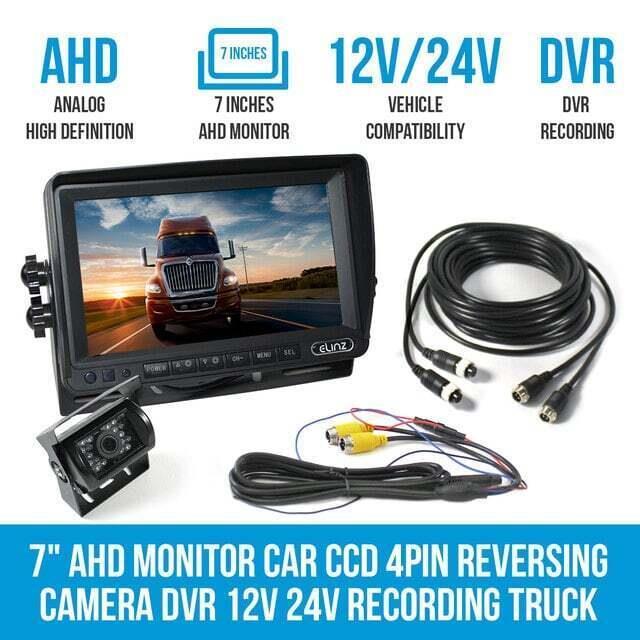"""Elinz 7"""" AHD Monitor Car CCD 4PIN Reversing Camera DVR 12V 24V Recording Truck Caravan"""