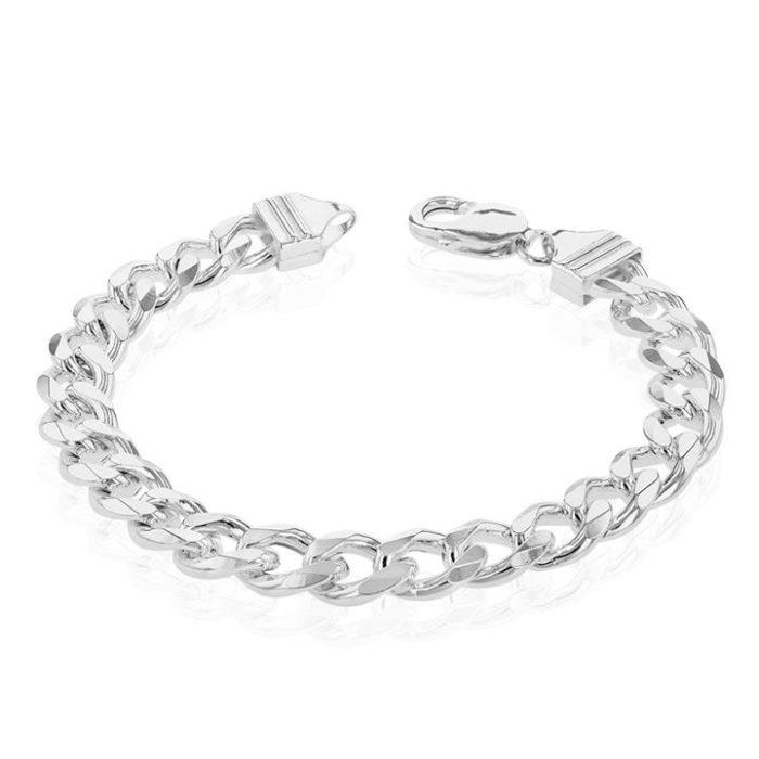 Sterling Silver Dicut Heavy Curb 250 Gauge Gents Bracelet 21cm